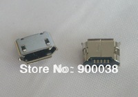 Free shipping 1000pcs Micro USB connectors B type Female SMT 5 pins with 2 locators