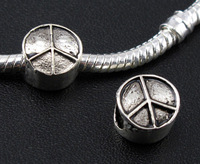 100pcs Tibetan Silver Peace Sign Charms Large Hole Spacer Beads Fit European Bracelets 10x10mm 0149