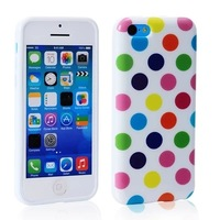 Polka Dots Soft Silicone TPU Gel Case CellPhone Phone Cover Shell Pouch for iPhone 5C iPhone5C 100pcs/lot DHL Free Shipping