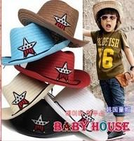 Free shispping new fashin The latest star hemp straw hat Korean children's cap CA042