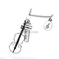W7Tn The Latest Fashion Women's Temperament Serenade Violin fall Pendants Necklace B