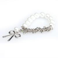 W7Tn Chain Cute Bowknot White Faux Pearl Braclet
