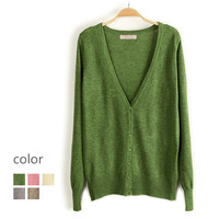 2013 women's candy color solid color V-neck long-sleeve sweater cardigan d34