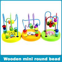 wholesale 5pcs/lot Mini animal track rail maze,small around beads, fancy toy animals pearl educational wooden toy baby  toy