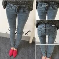 Free shipping New Arrival 2013 Fashion Mid waist Women Straight Jeans Slim Pencil Skinny Denim Pants. TB-43