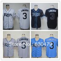 Free Shipping Tampa Bay Rays #3 Evan Longoria American baseball jersey men's cheap baseball Jersey size:M-XXXL