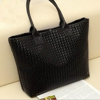 Women Korean Woven Plaid Shoulder Bag Fashion 8 Colors OL Leather Handbag 2013 New Tote Large Casual Travel Bags Bolsa A167