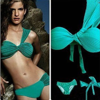 Sexy Green Bikini Brand Bandage Dress One Shoulder Ladies' Sexy Ruffles Bikini Hot Swimwear Sexy Bikini Swimsuit for women