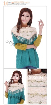 Free shipping Female 2013 double layers patchwork scarf knitting wool triangle scarves 11 solid colors wraps Winter warm cape