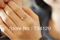 G087 Free shipping 2014 new Factory mix Wholesale Price Cute Musical Note openings Adjustable rhinestone Ring for women