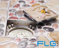 2014 new designer 10*10 cm  brass Stealth Stone art self-closing floor waste strainer drains anti-odor shower drainer 8010C