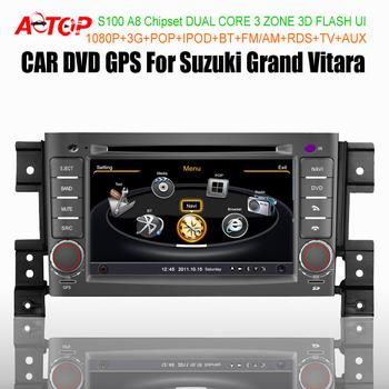 7'' Car DVD GPS PC Audio Video Stereo Radio Player For Suzuki Grand Vitara A8 S100 Dual Core 1080P POP iPOD BT 3G WIFI Free Map