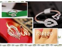 G086 2014 new mix wholesale Free shipping Korean Two Leaves Imitation Diamond Ring,Lovers Retro rhinestone Ring for girl
