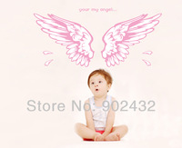 New 2013 Lovely Vinyl Wall Stickers Home Decor Pink Angel Wings Wall Decals Mural For Kids Rooms