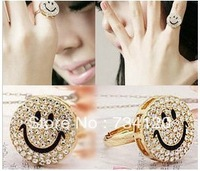 R039 Min.order is $10 (mix order)Free shipping Full drill smiling face ring. Fashion imitation diamond ring jewelry