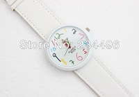 2013New WOMAGE fertile ma, big dial color pencil wide leather strap watch
