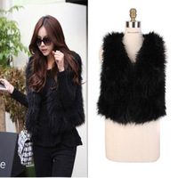 Vest product black faux wool vest fur cape waistcoat faux vest