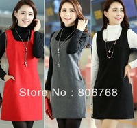 autumn women's autumn cashmere sweater, plus size woolen one-piece tank dress