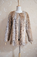 Winter leopard print fur coat short fur vest slim design overcoat women's fur