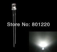 1000pcs 3mm Flat Top Ultra Bright White LEDs Wide Angle 20000mcd