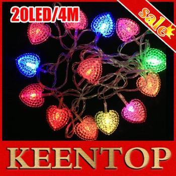 1Pcs/Lot Chrismas Holiday Led Colorful String Light 20LED 4M+AC 220V EU Plug RGB Heart Shape Fairy Lights Free Shipping