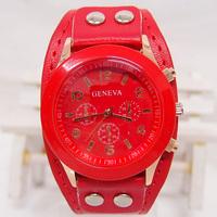Wholesale Leather Strape Geneva Brand Quartz Analog Watch Women Men Fashion Wristwatches