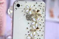 HK Free Shipping Bulk Luxury 3D All over the sky star floret Bling Crystal Diamond flower Case  For iPhone 5 5G Retail Package