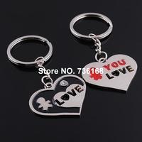 Free shipping (3 pairs/lot) corazones llavero fine love key chain bijoux zinc alloy fashion hearts key ring joyeria