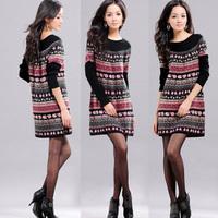 Dropshipping!2014 Autumn Women' Sweater Korea plus size Sweater dress