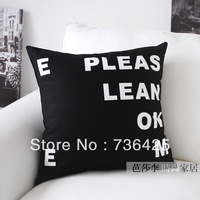 "45cm*45cm Black & White Pattern "" Lean On Me"" Pillow Case"