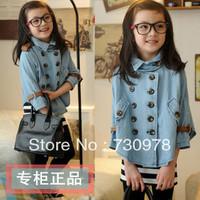2013 autumn clothing female child 100% denim cotton double breasted cloak batwing shirt cloak cape outerwear