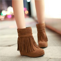 Sweet fringed boots waterproof heavy-bottomed boots bare slope with ankle boots for women
