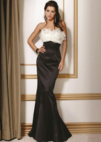 Ruffles Neckline Organza And Taffeta White And Black Slim Mermaid Mother Of The Bride Dress
