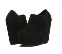 WOMENS LADIES ANKLE PLATFORM HIGH HEEL WEDGES SHOES BOOTS BLACK SUEDE SEXY