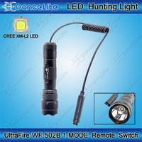 Remote Pressure Switch + UltraFire WF-502B CREE XM-L2 1600LM 1-Mode(on/off) LED Hunting Flashlight Torch