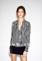 New Sexy Women Chiffon Long Sleeve Casual vertical stripe Blouses Sheer Shirt Tops,Free shopping