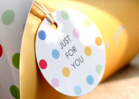 *Free shipping* Colorful dot just labeling West box circle label with decoration rope 10pieces
