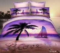 Beach Sailboat 3d oil print bedding sets queen size 4pcs Unique ocean duvet cover bedclothes bed sheet cotton home textile