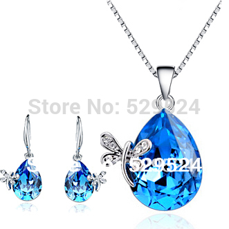The Blue Crystal Pendant Necklace Silver Jewelry Set Wedding Jewelry Drop Sharp Silver Gift(China (Mainland))