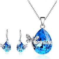The Blue Crystal Pendant Necklace Silver Jewelry Set Wedding Jewelry Drop Sharp Silver Gift