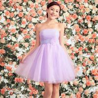 2014 Bride dress romantic purple short tube top design marriage dress evening dress bridesmaid puff skirt wedding party dress