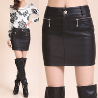 2014  pu  leather skirt   for women  skirt  slim hip  wap skirt