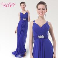 winter dress Betty spaghetti strap long design chiffon evening dress 2014 blue formal dress plus size formal dress one-piece