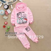 Wholesale 1 lot= 3 sets 2013 new fashion children's casual cartoon hoodies autumn kids girls child clothing set dogs 2T to 5 T