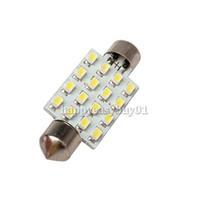 2 x White 42mm 16 LED SMD Festoon Dome Light Car Bulbs Lamp H1E1