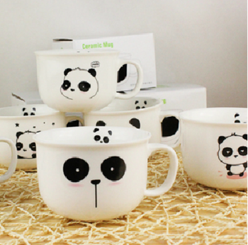 Free Shipping Zakka panda cup cute ceramic cup mug coffee cup milk cup glass