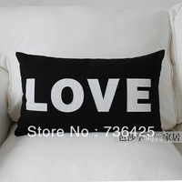 "30cm*50cm Black & White Embroidery ""LOVE"" Pillow Case"
