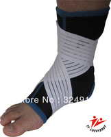 Free shipping Athletics Ankle Support With Laced Wraps Terry Lining Orthopaedic Pullover Stabilizer Open Heel Sleeve Large+2pcs