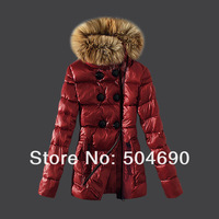 Ladies Coat Down Parka Warm Winter Jacket Coat Short Lnclined Zipper Fur Collar Brand Women's Down Coat Red Brown Black Sz S-XL