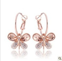 Free shipping  CS viennois 18K rose gold plated shining stone butterfly earring  wholesale